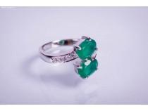 kolok.ro-Inel din argint cu două pietre ovale din agat verde-KONFI07-20