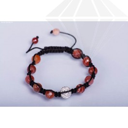 kolok.ro-Brățară Shamballa cu bile fațetate din agat roșu și cristal-KDI134-30