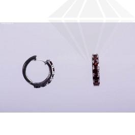 kolok.ro-Cercei argint în formă de cerc cu pietre din granat-KDI320-30