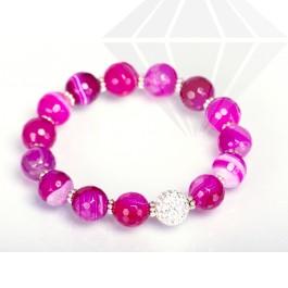 kolok.ro-Brățară elastică cu mărgele din agat roz și cristal-KDI267-30