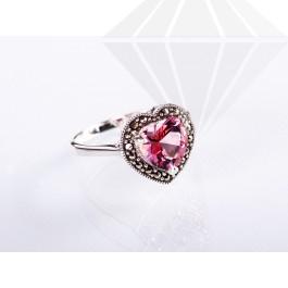 kolok.ro-Inel inimă din argint cu turmalin roz, mărime 7-KDI357-30