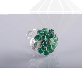 kolok.ro-Inel ajustabil cu forma de floare din agat verde-KDI340-30