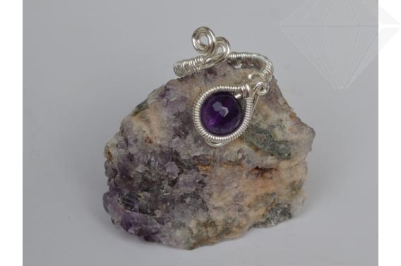 kolok.ro-Inel handmade cu o piatră de ametist fațetat-KDH72-30