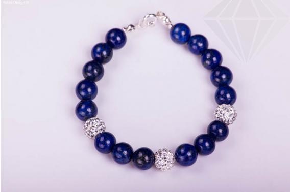kolok.ro-Brățară din argint cu mărgele din lapis lazuli și cristal-KDI109-30