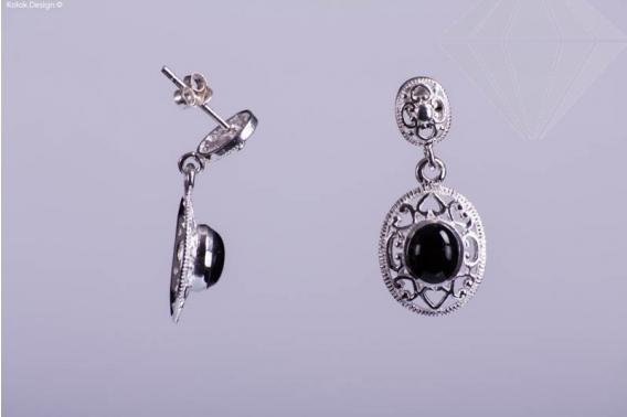 kolok.ro-Cercei argint în formă ovală cu onix-KDI302-30