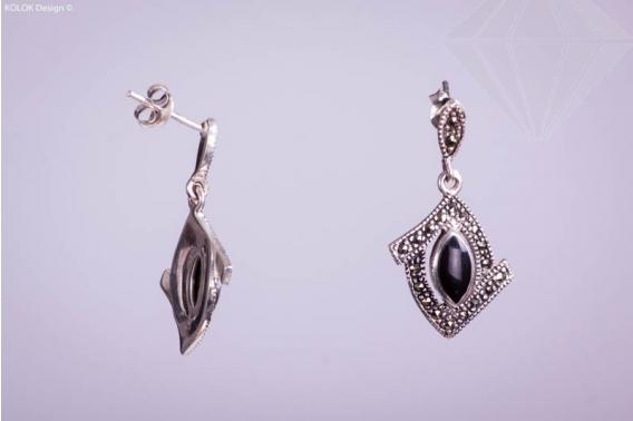 kolok.ro-Cercei din argint în formă de romb cu onix-KDI061-30