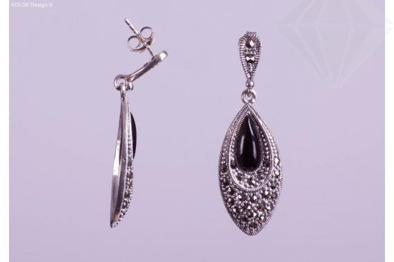 kolok.ro-Cercei din argint în formă ovală cu onix-KDI056-30
