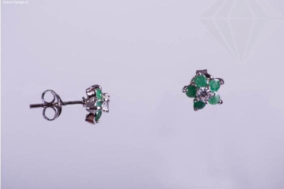 kolok.ro-Cercei floricele din argint cu pietricele smarald-KDI310-30