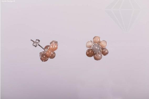 kolok.ro-Cercei în formă de floricică cu pietre de agat botswana-KDI344-30