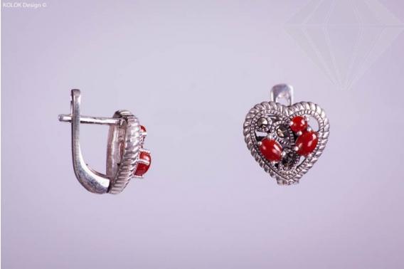kolok.ro-Cercei inimioare din argint cu marcasite și agat roșu-KDI038-30