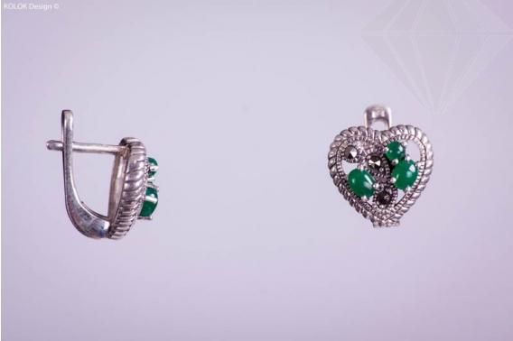 kolok.ro-Cercei inimioare din argint cu marcașite și agat verde-KDI036-30