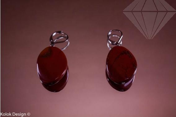 kolok.ro-Cercei jasp roșu cu mărgele ondulate și ovale, cu cârlig-KD10106-30