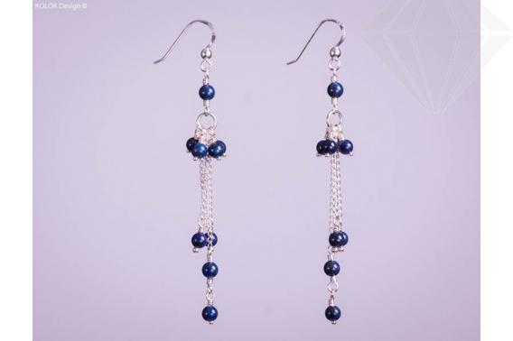 kolok.ro-Cercei lungi din argint cu mărgele mici din lapis lazuli-KDI121-30