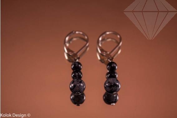 kolok.ro-Cercei obsidian cu trei mărgele, închizătoare tip cârlig-KD1008-30