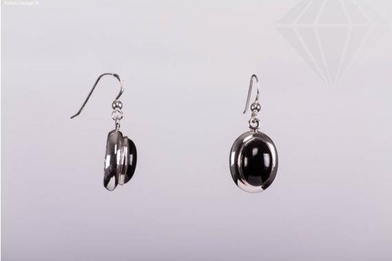 kolok.ro-Cercei ovale din argint cu o piatra de onix-KDI367-30