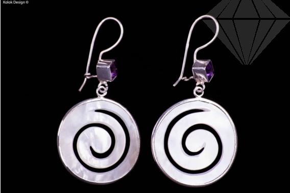 kolok.ro-Cercei argint din sidef spirală cu ametist-KDI001-30