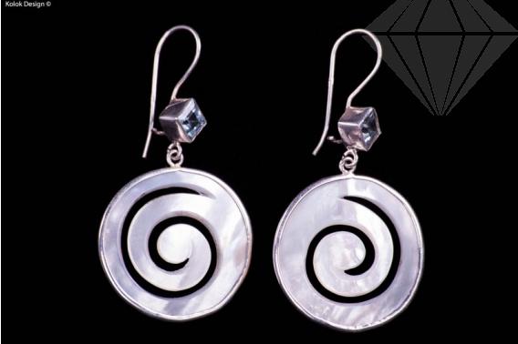 kolok.ro-Cercei argint din sidef spirală cu topaz albastru-KDI000-30