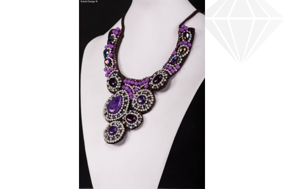 Colier tip collar - agat violet - click aici