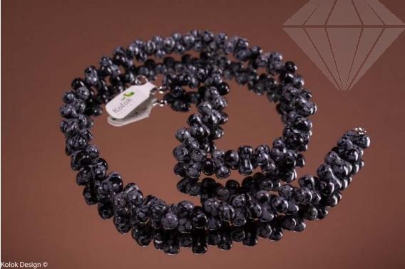 kolok.ro-Colier obsidian fulg-de-nea de 50cm cu mărgele de oscioare-KD1444-30
