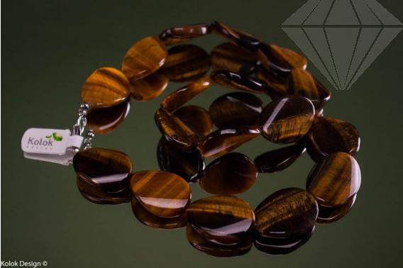 kolok.ro-Colier ochi de tigru mărgele ondulate și ovale 18x25mm-KONFC123-30