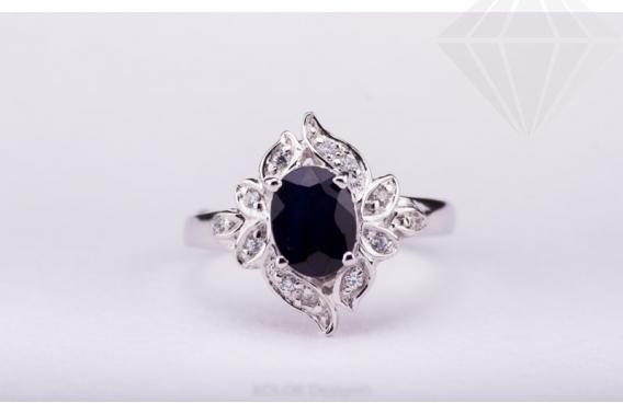 kolok.ro-Inel argint cu safir albastru și zirconia, mărime 6-KDI437-30