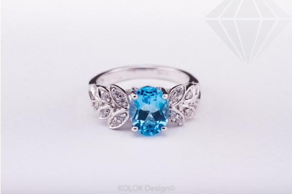 kolok.ro-Inel din argint cu topaz albastru și zirocnia, mărime 6-KDI462-30