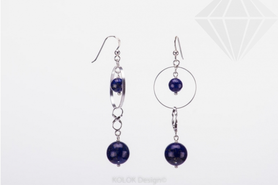 kolok.ro-Cercei lungi din argint cu două mărgele de lapis lazuli-KDI416-30