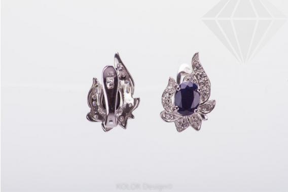 kolok.ro-Cercei din argint in forma de floare cu safir si zirconia-KDI444-30