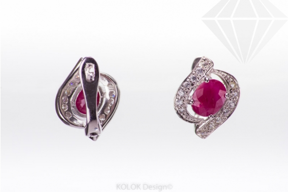 kolok.ro-Cercei din argint cu rubin decorat cu zirconia-KDI434-30