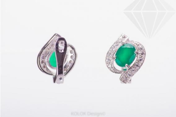 kolok.ro-Cercei din argint cu agat verde decorat cu zirconia-KDI433-30