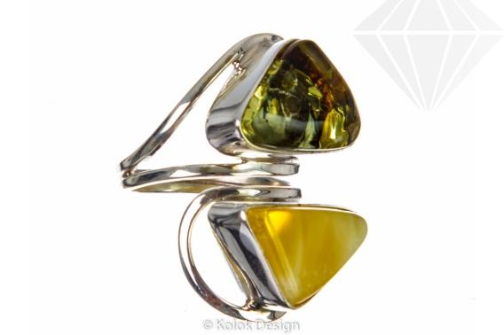 kolok.ro-Inel lux din argint cu două pietre de chihlimbar baltic-KDE037-30