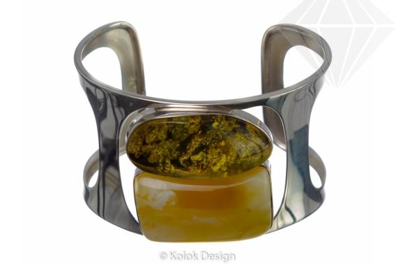 kolok.ro-Brățară lux din argint cu pietre de chihlimbar autentic-KDE038-30