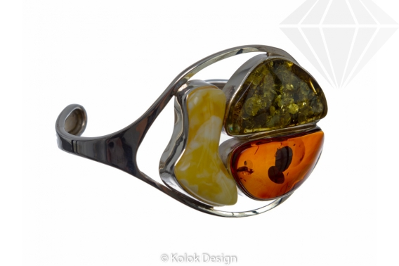 kolok.ro-Brățară rigida lux din argint cu chihlimbar baltic mix-KDE001-30