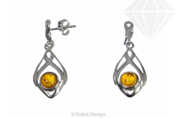 kolok.ro-Cercei răsucite din argint cu o mărgea de chihlimbar-KDI081-30
