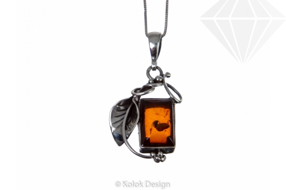 kolok.ro-Pandantiv model frunză din argint cu chihlimbar dreptunghiular-KDI070-30