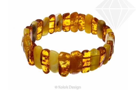 kolok.ro-Brățară cu mărgele prisme din chihlimbar coniac și miere,18-KDX072-30