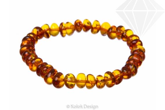kolok.ro-Brățară elastică cu mărgele de chihlimbar baltic coniac-KDX069-30