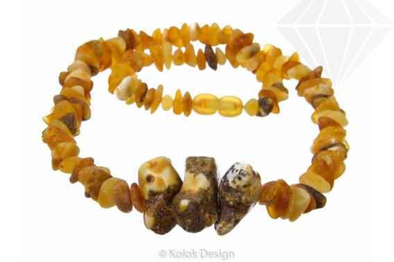 kolok.ro-Colier Tribal cu mărgele neșlefuite din chihlimbar miere-KDX058-30