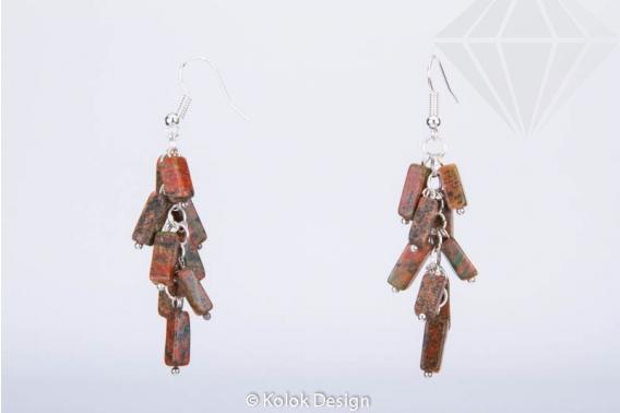 kolok.ro-Cercei handmade cu pietre de unakit în formă de cub-KDHE35-30