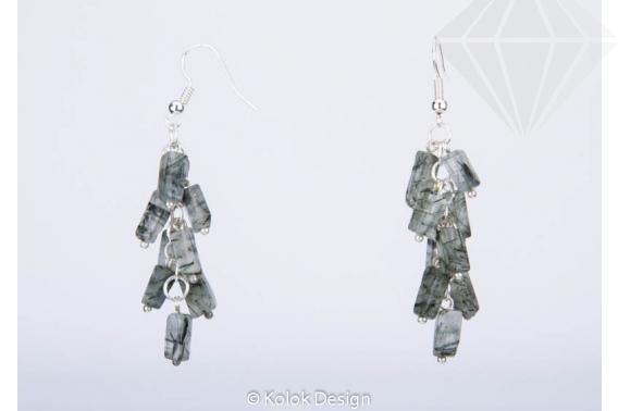 kolok.ro-Cercei handmade cu pietre de cuarț rutilat în formă de cub-KDHE32-30