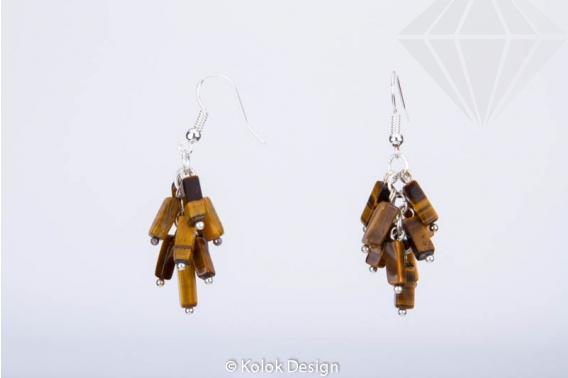 kolok.ro-Cercei handmade cu pietre de ochi de tigru în formă de cub-KDHE30-30