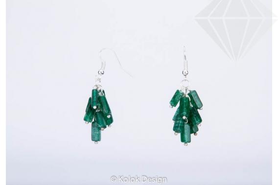 kolok.ro-Cercei handmade cu pietre de jad verde în formă de cub-KDHE25-30