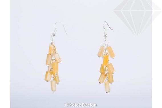kolok.ro-Cercei handmade cu pietre de jad galben în formă de cub-KDHE26-30