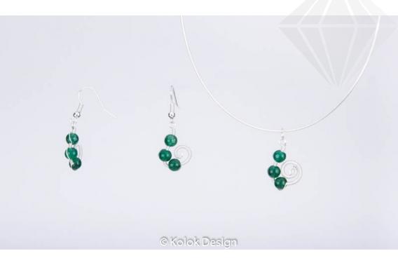kolok.ro-Set handmade cu trei pietre jad verde și sârmă argintată-KDHE12-30