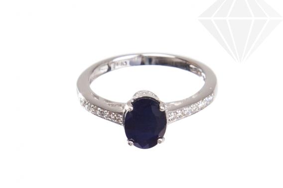 kolok.ro-Inel finuț cu safir albastru și pietre de zirconia-KONFI102-30