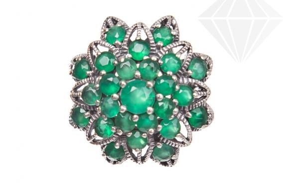 kolok.ro-Inel statement Floare de colț cu pietre de agat verde-KONFI100-30
