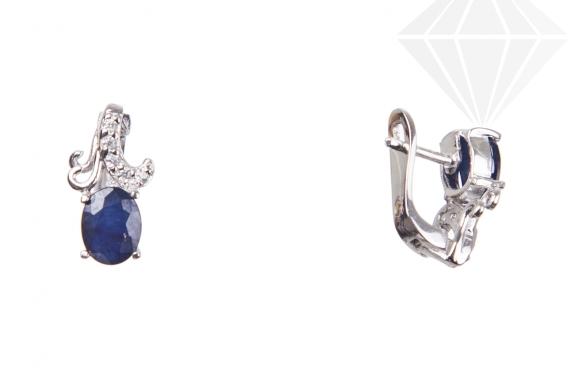 kolok.ro-Cercei lalea din argint 925 cu safir albastru și zirconia-KDI619-30