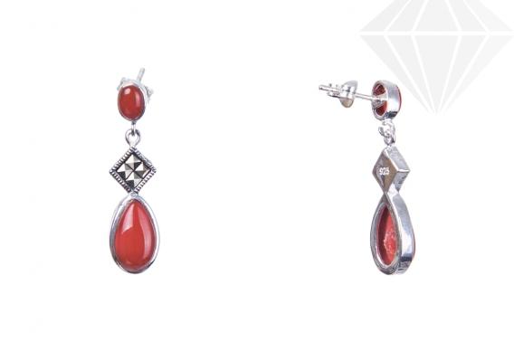 kolok.ro-Cercei mediu din argint cu pietre ovale de agat roșu-KDI601-30