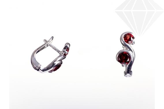 kolok.ro-Cercei din argint cu două pietricele granat-KDI323-30