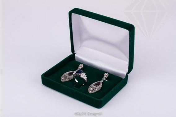 kolok.ro-Cutiuță din catifea verde pentru inel și cercei-KDB42-30